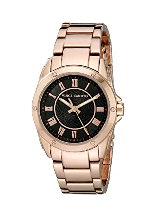 Vince Camuto Womens VC/5230BKRG Black Dial Rose Gold-Tone Bracelet Watch