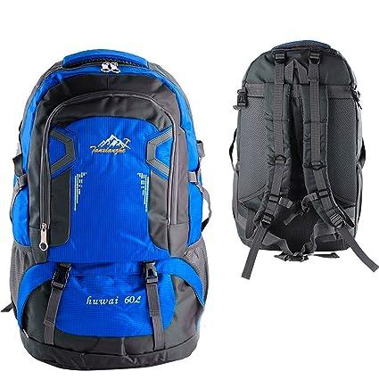 Mochila de acampada 60 litros Militar Trekking escalada senderismo montaña (Azul)