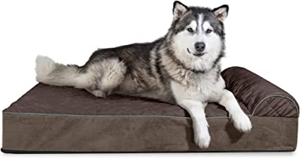 Espresso 4XL Furhaven Pet Dog Bed Orthopedic Goliath Quilted Faux Fur and Velvet Chaise Lounge Living Room Couch Pet Bed with Removable Cover for Dogs and Cats