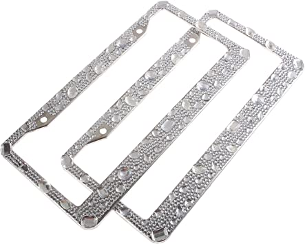 Runone Rhinestone License Plate Frame Bling Car Accessories For Women,Funny Cute