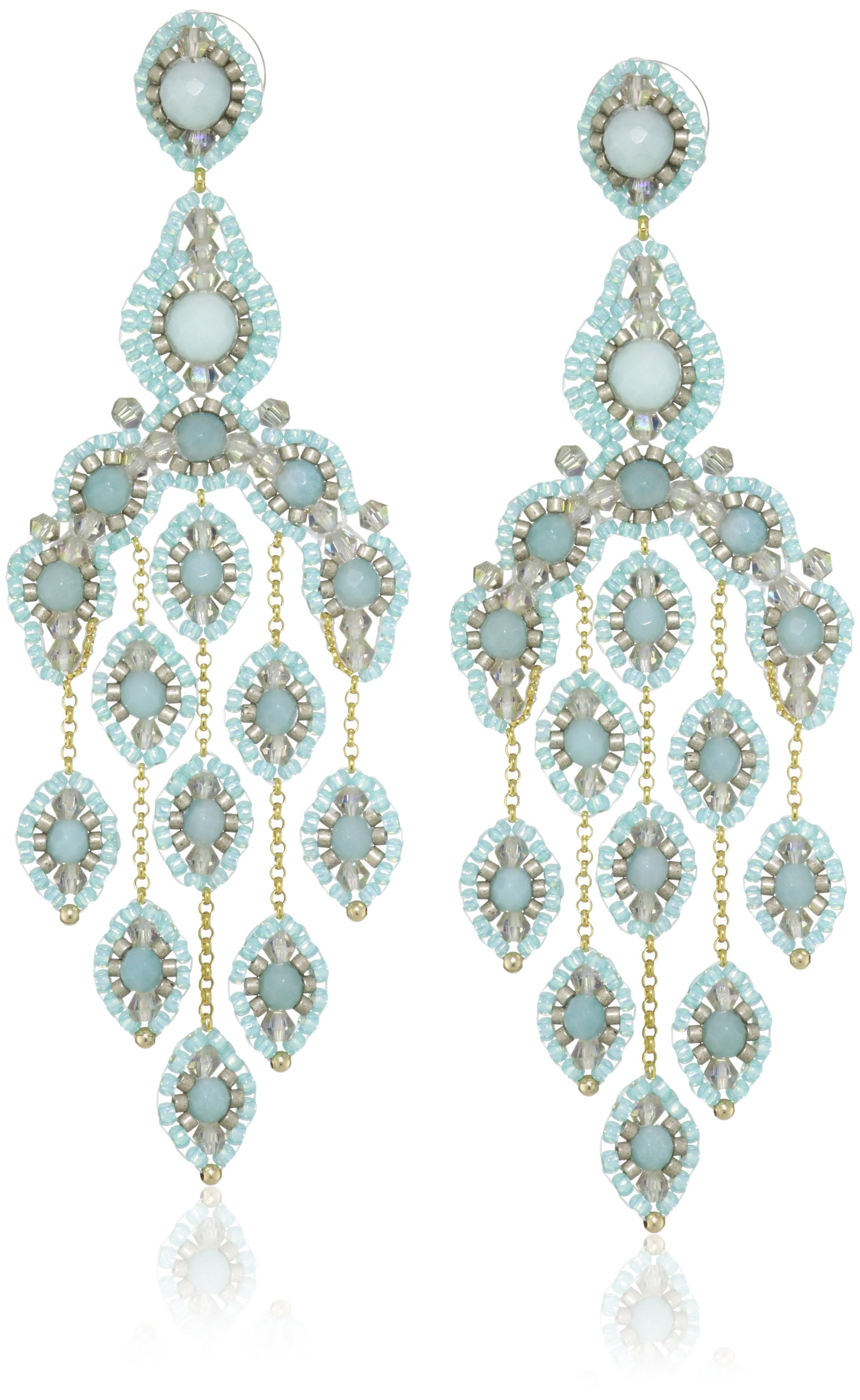 Miguel Ases Gold-Filled Amazonite Cascading Drop Earrings