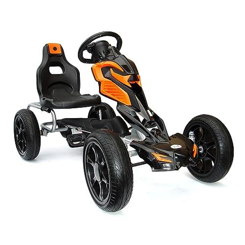 JOY 4KiDS # scout - Voiture de course/kart à pédales pour enfants de 5-12ans , pneus Eva, orange