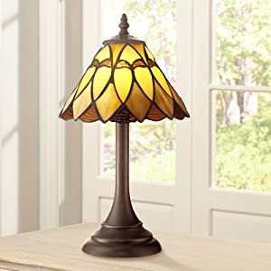 """Austin Mission Antique Accent Table Lamp 14"""" High LED Warm Brown Amber Art Glass Shade for Bedroom Bedside Nightstand Office - Robert Louis Tiffany"""
