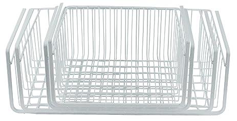Southern Homewares Wire Under Shelf Storage Basket, 4 Piece Set, White