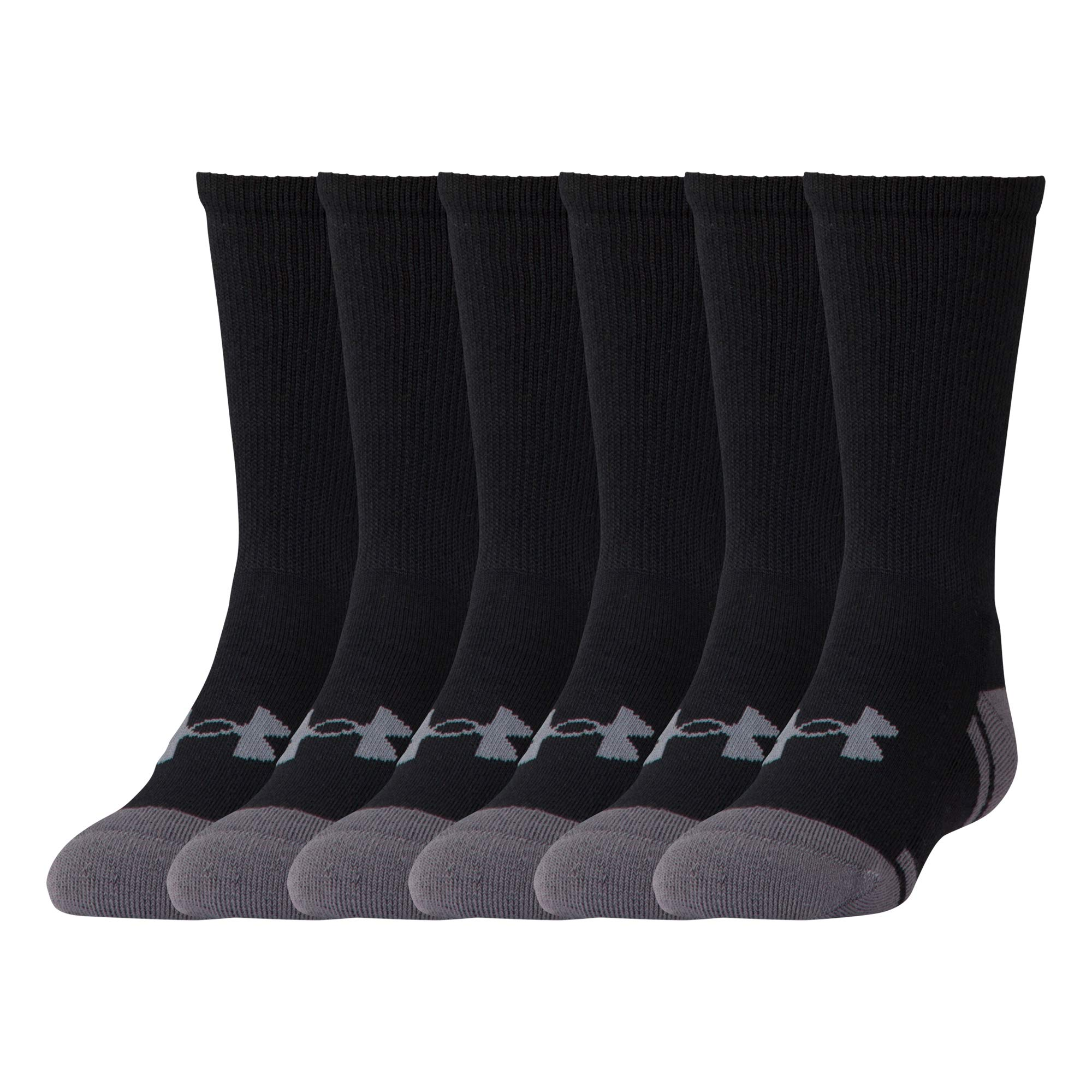 UNDER ARMOUR Youth Resistor 3.0 Crew Athletic Socks (6 Pack), Black/Graphite, Youth Large by Under Armour