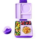 OmieBox - Leak-Proof 3-Compartment Bento Lunch Box For Kids - Includes Insulated Food Thermos - Two Temperature Zones For Hot & Cold Food (Purple Plum)