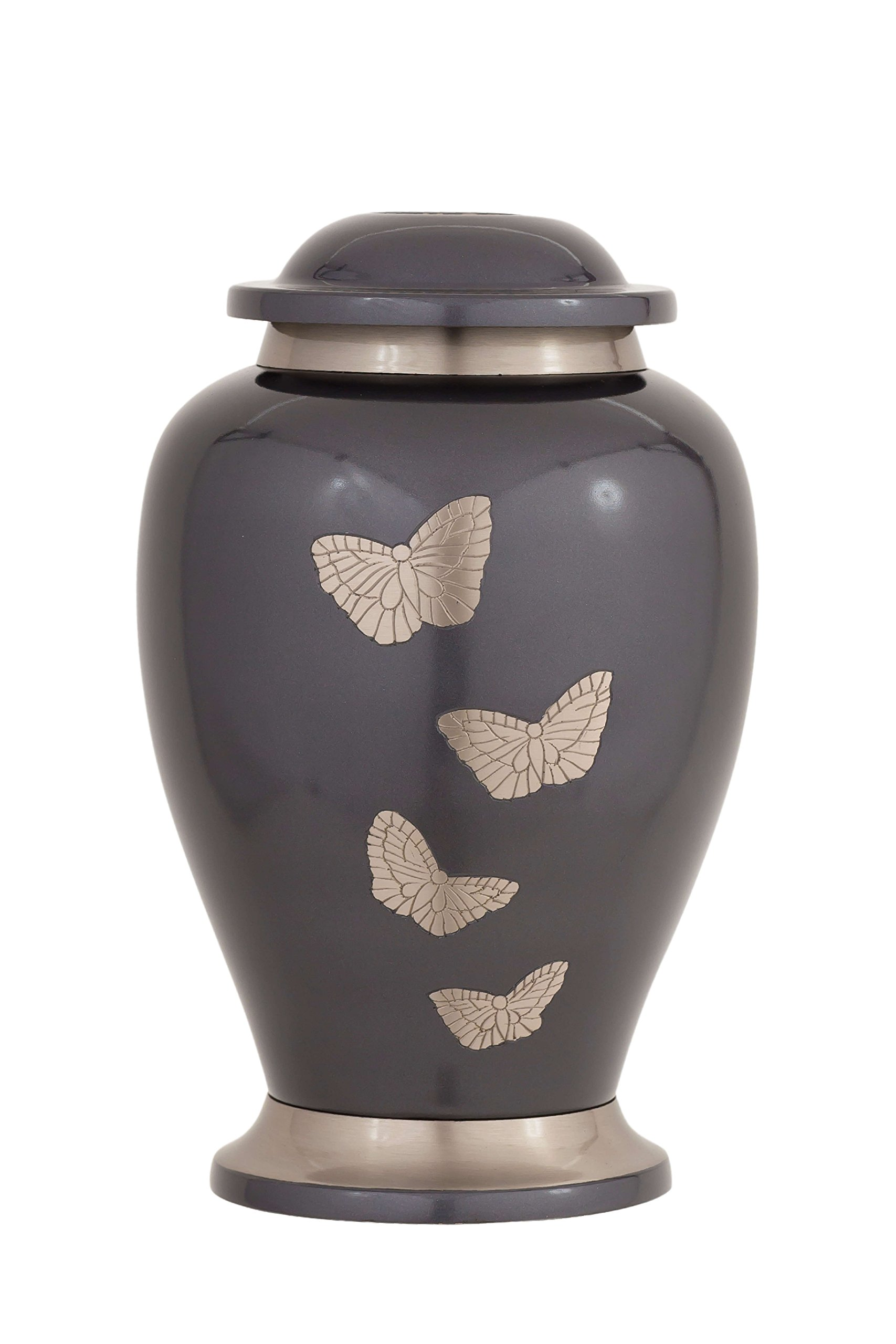 Enshrined Memorials Cremation Urn for Ashes - Apollo Series Affordable Solid Brass Metal Quality Handcrafted for Human Funeral Burial Large 10 inch & Keepsake Bundle, Gray with Butterflies