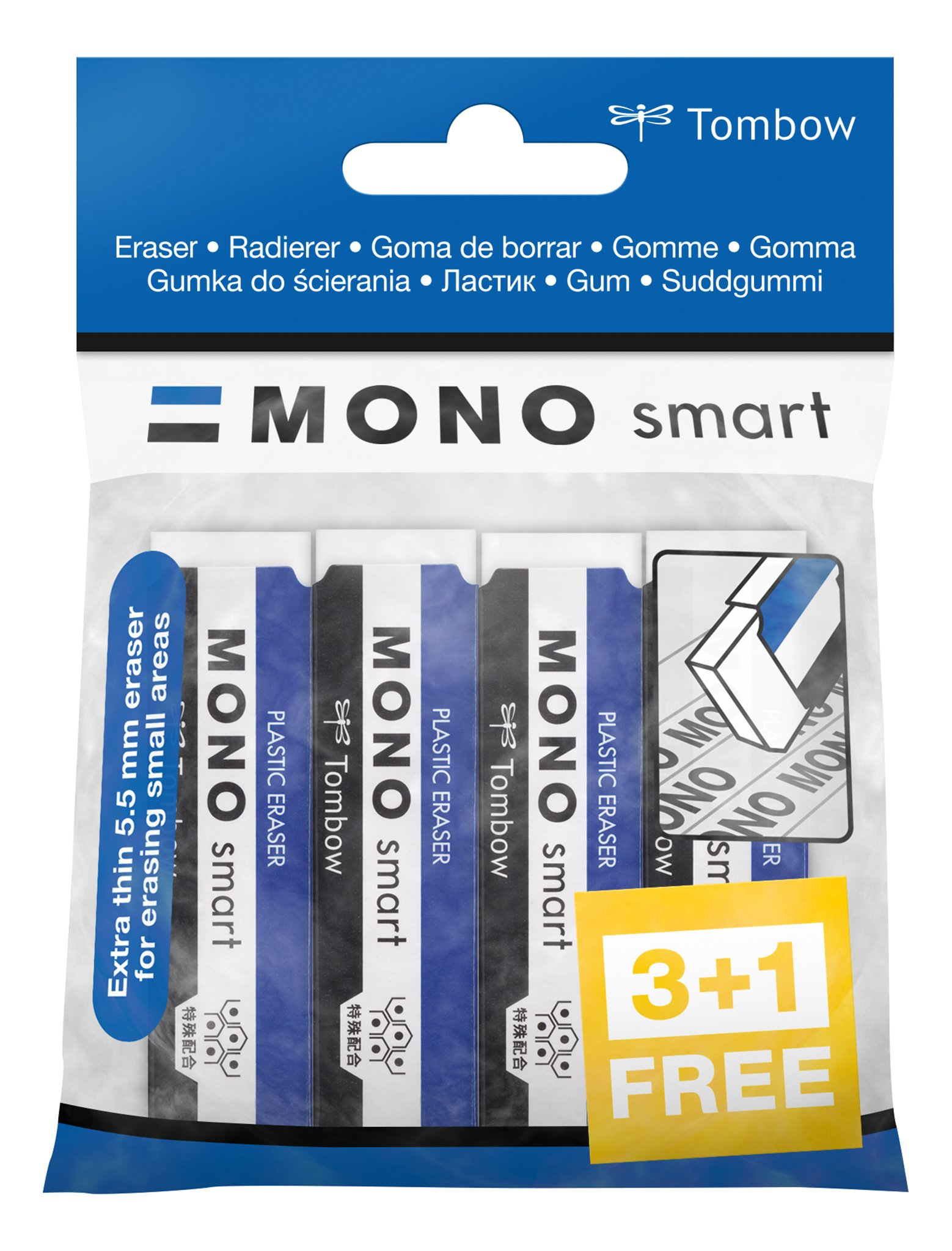 Tombow ET-ST-4P Rubber Mono Smart, for Precision Erasing, 9 g, Pack of 4