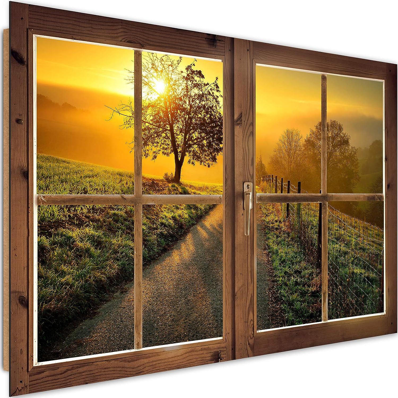 Cuadro Imagen XXL Ventana Falsa Impresión de Arte Atardecer Naranja 120x80 cm