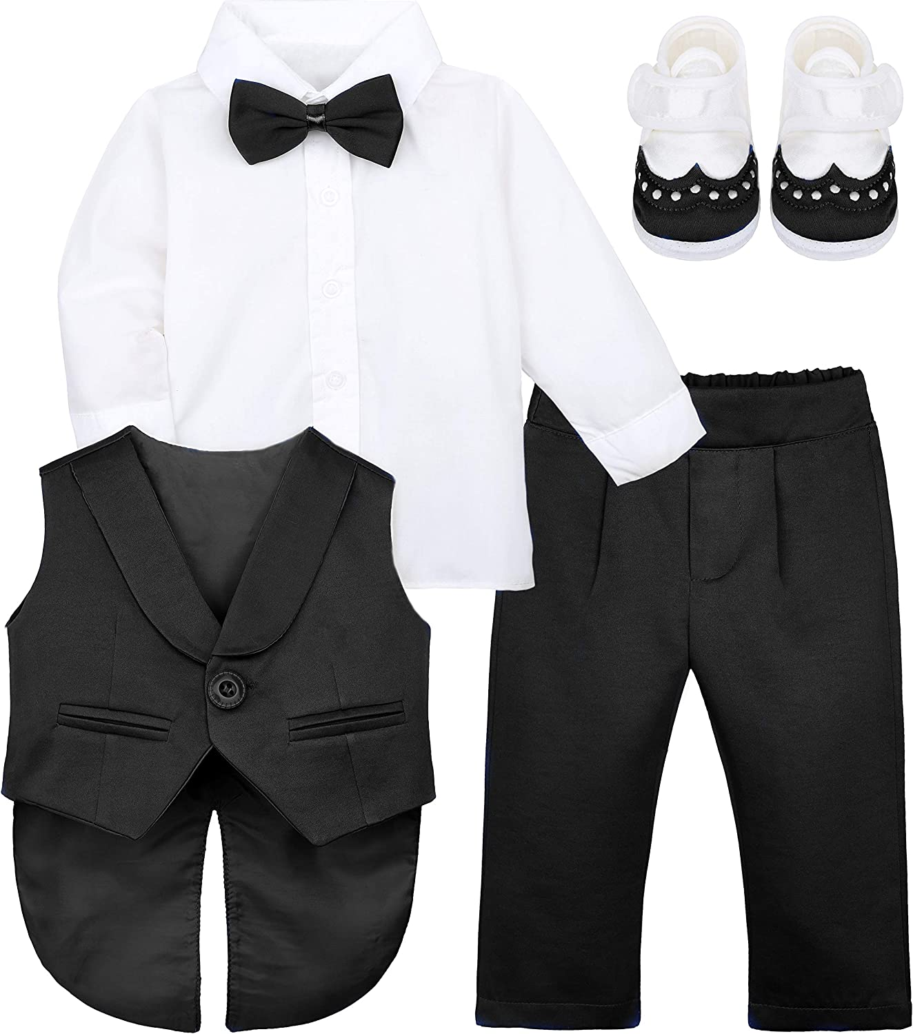 Lilax Baby Boy Gentleman Tuxedo Outfit Infant 4 Piece Set