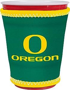 Kolder NCAA Logo Coolie Cup Holder Sleeve Fitting Plastic Cups, Pint Glasses, Coffee Cups, Ice Cream, Etc. - Neoprene and Bottomless (Oregon Ducks)
