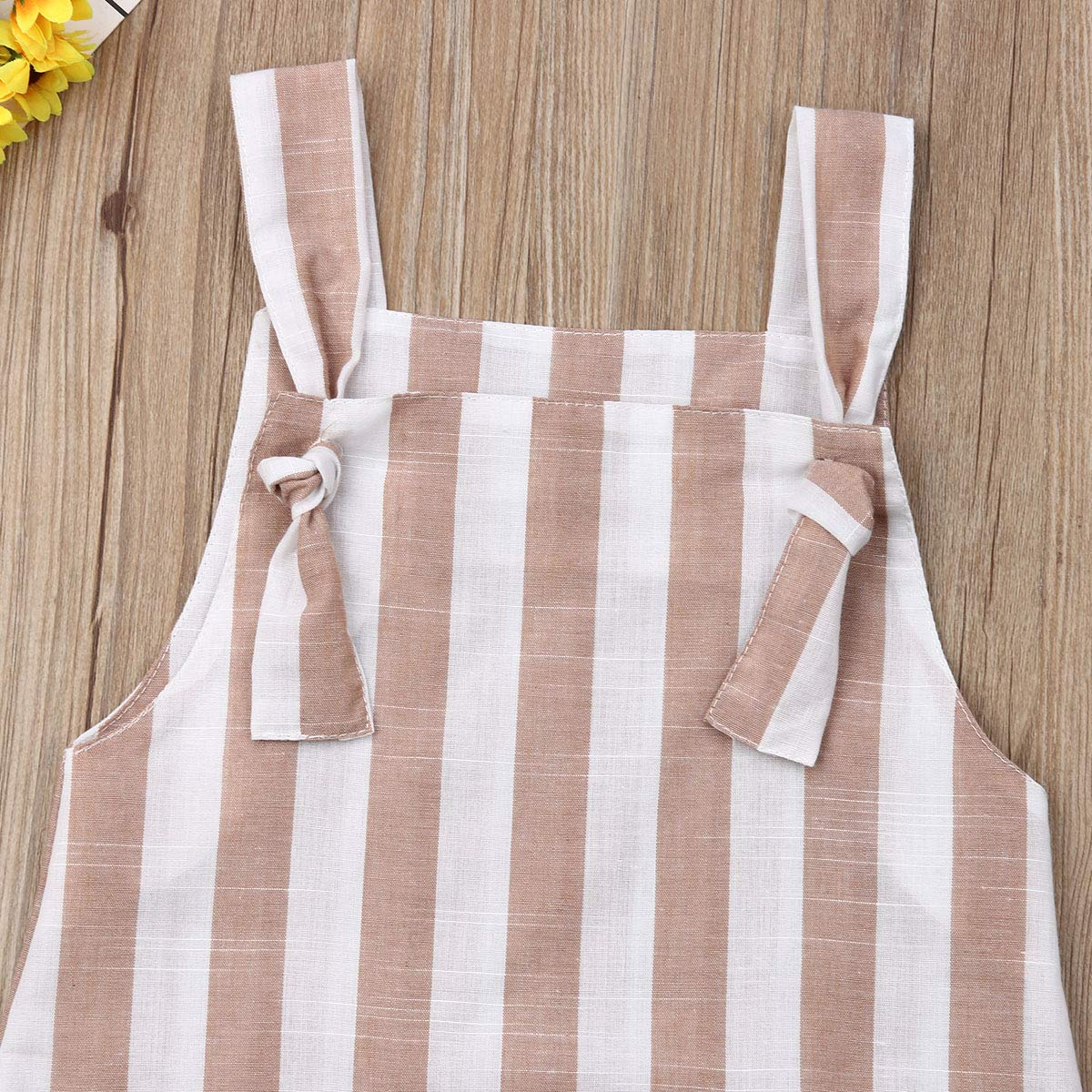 Toddler Baby Girls Summer Wear Halter Sleeveless One-Piece Stripe Jumpsuit Sundress Straps Dress Casual Overalls