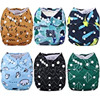 Anmababy 6 Reusable Pocket Cloth Diapers +6 Bamboo Inserts and 1 Dry/Wet Bag.