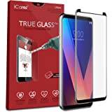 iCarez [Full Coverage Black Glass ] Screen Protector for LG V30 Highest Quality Easy Install [ 1-Pack 0.33MM 9H 2.5D] with Lifetime Replacement Warranty