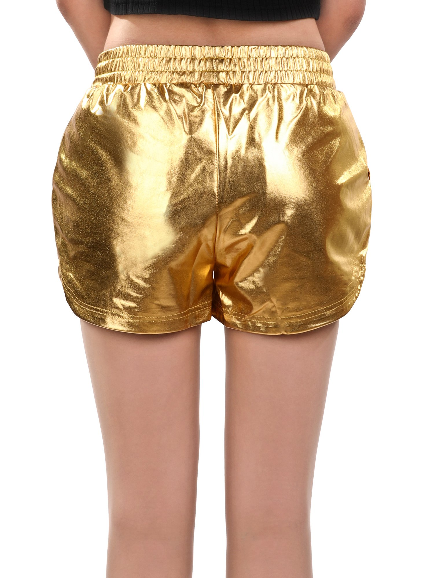 Skylety Metallic Shiny Shorts Women Sparkly Hot Shorts Girl Yoga Outfit Casual Loose Shorts (L Size, Gold) by Skylety (Image #5)