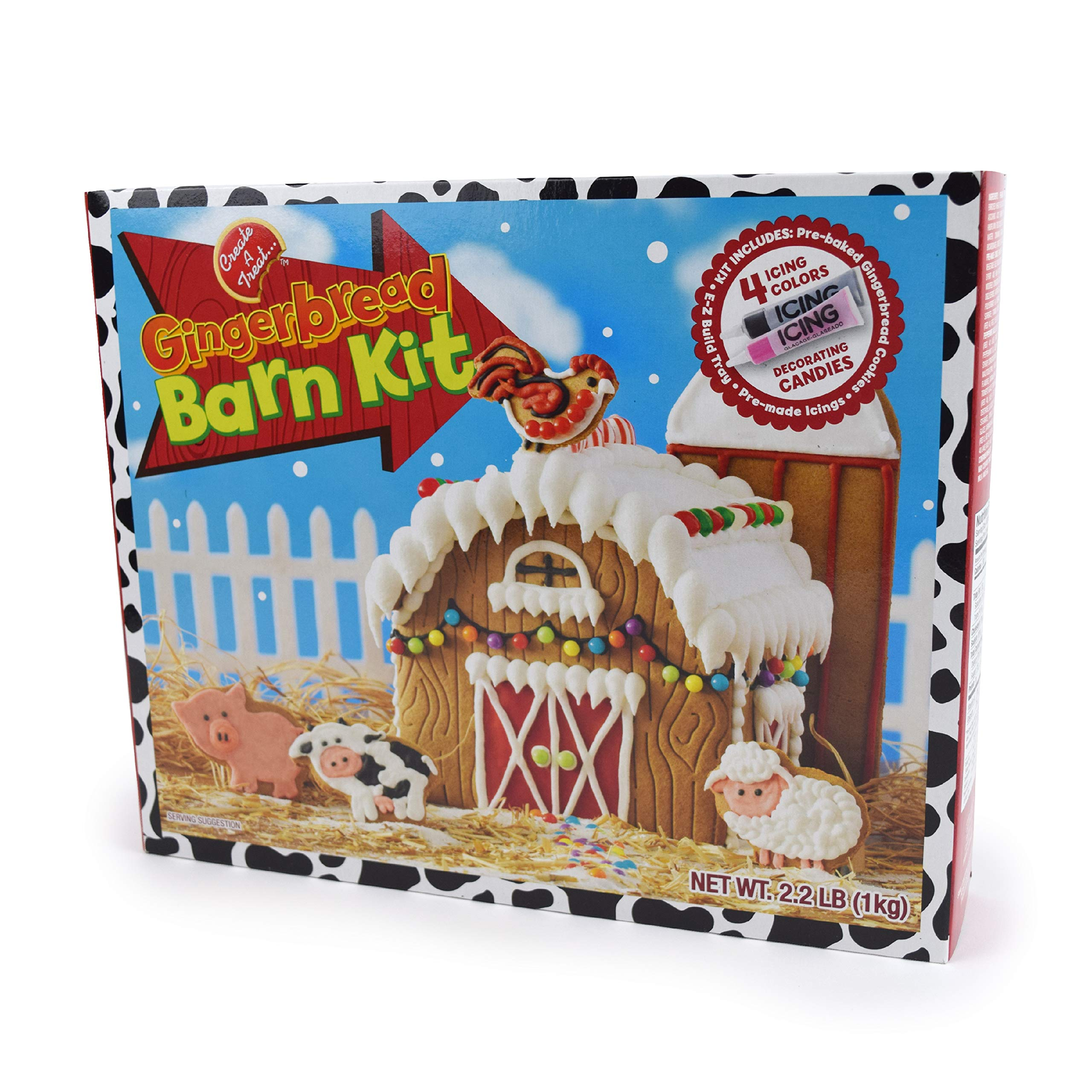 No-Bake Gingerbread House Kit | Christmas Barn with Gingerbread Farm Animal Cookies, Candy, Icing and Instructions Included