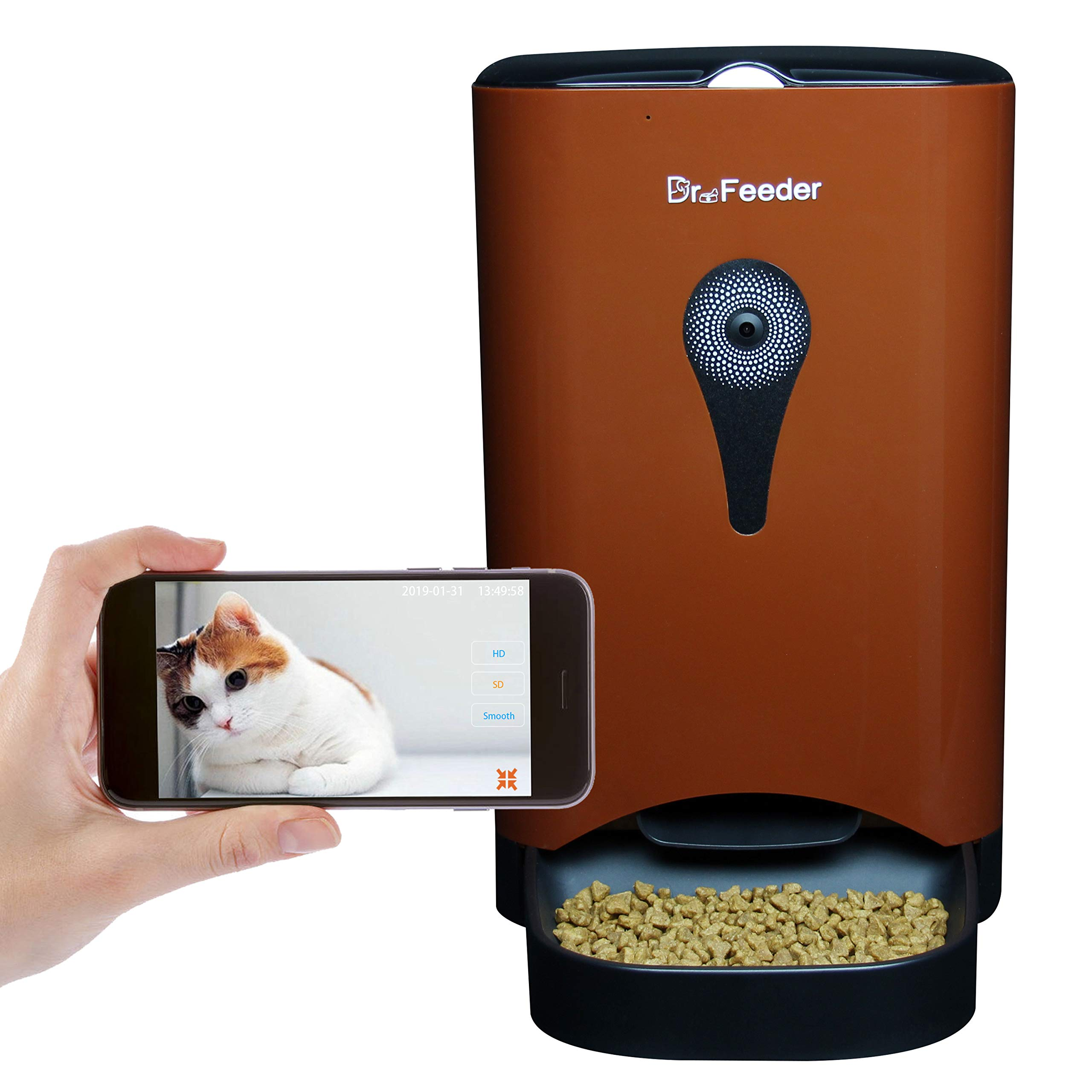 4.5L Smart HD Camera Feeder for Video and Audio Communication, Automatic Pet Feeder for Cats and Dogs, APP Controlled Food Dispenser Through Wi-Fi, Brown by Dr. Feeder
