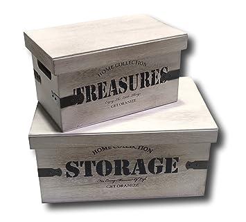Urban Design Cajas Caja Caja de Madera Set de 2 Cajas con Tapa Retro Vintage: Amazon.es: Hogar