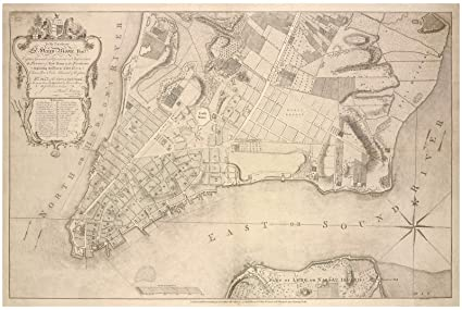 Map Of New York 1776.Amazon Com Historic 1776 Map Plan Of New York Manhattan Between
