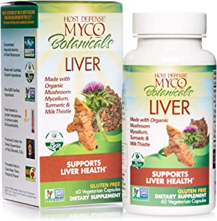 product image for Host Defense, MycoBotanicals Liver, Supports Liver Health and Detoxification, Daily Mushrooms and Herb Supplement with Turkey Tails, Milk Thistle, Vegan, Organic, 60 Capsules (30 Servings)