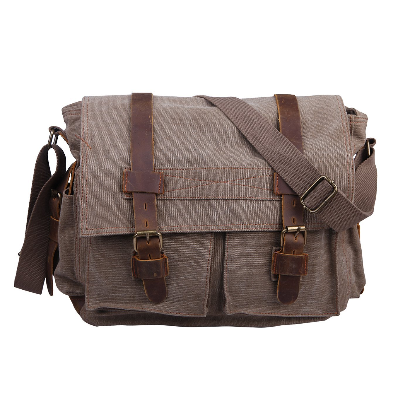 HDE Vintage Canvas Messenger Bag Leather Military Tactical Style Travel Shoulder Field Bag fits 15 Inch Laptop by HDE