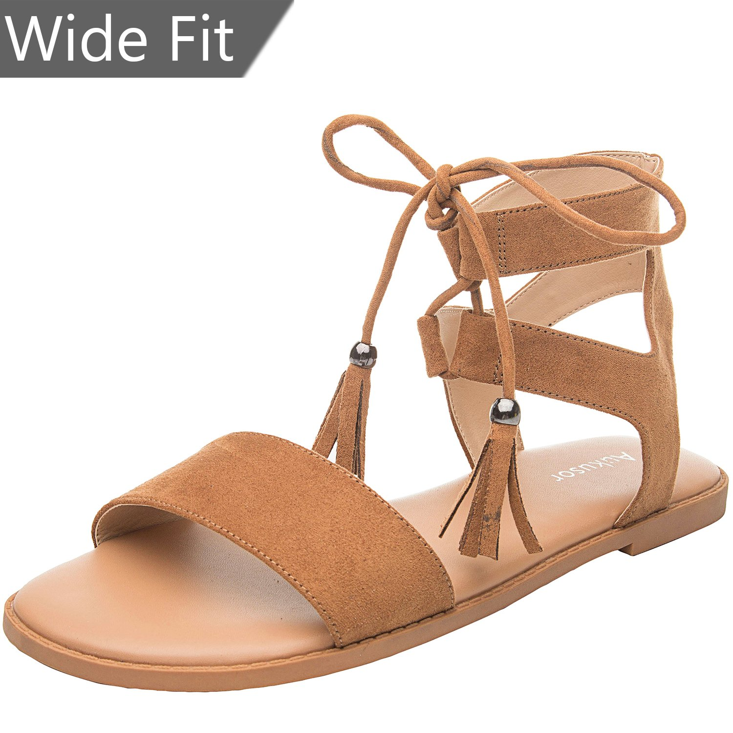 Women's Wide Width Flat Sandals - Comfortable Lace up Ankle Strap Casual Shoes.(180308 Brown,8WW)