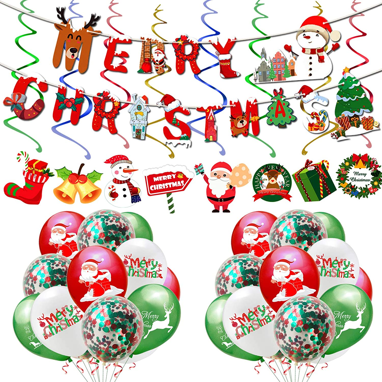 Rainmae Christmas Party Decoration Supplies Set - Happy Christmas Banner, Latex Balloons and Hanging Swirls for Christmas Bar Home Decor,Baby Shower, Birthday Party Accessory & Decoration