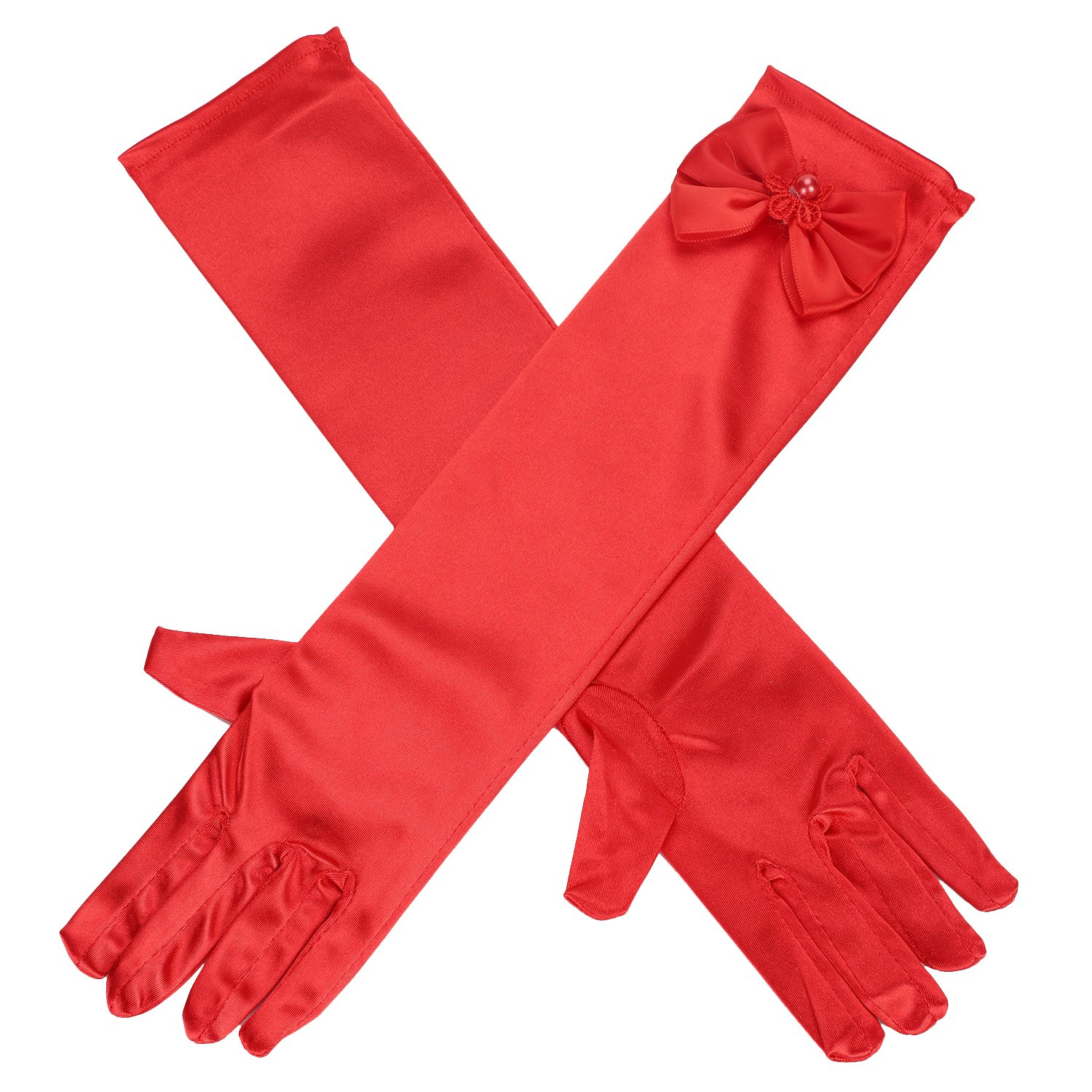 Kids Girls Multi-use Gloves Long Satin Princess Dress-up Diamonds Bows Gloves for Performance Party Photography Ball IBLUELOVER