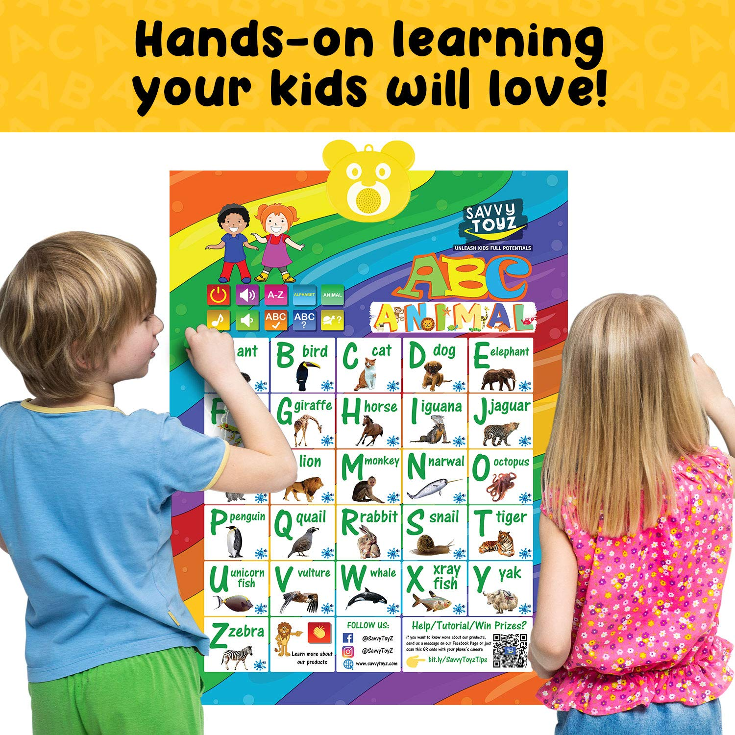 SavvyToyZ Educational Toys for 2-5 Year Olds - Help Your Toddler's Development and Education with Preschool Learning Toys - Fun Talking Interactive Poster for Entertainment and Learning Alphabet by SavvyToyZ (Image #7)
