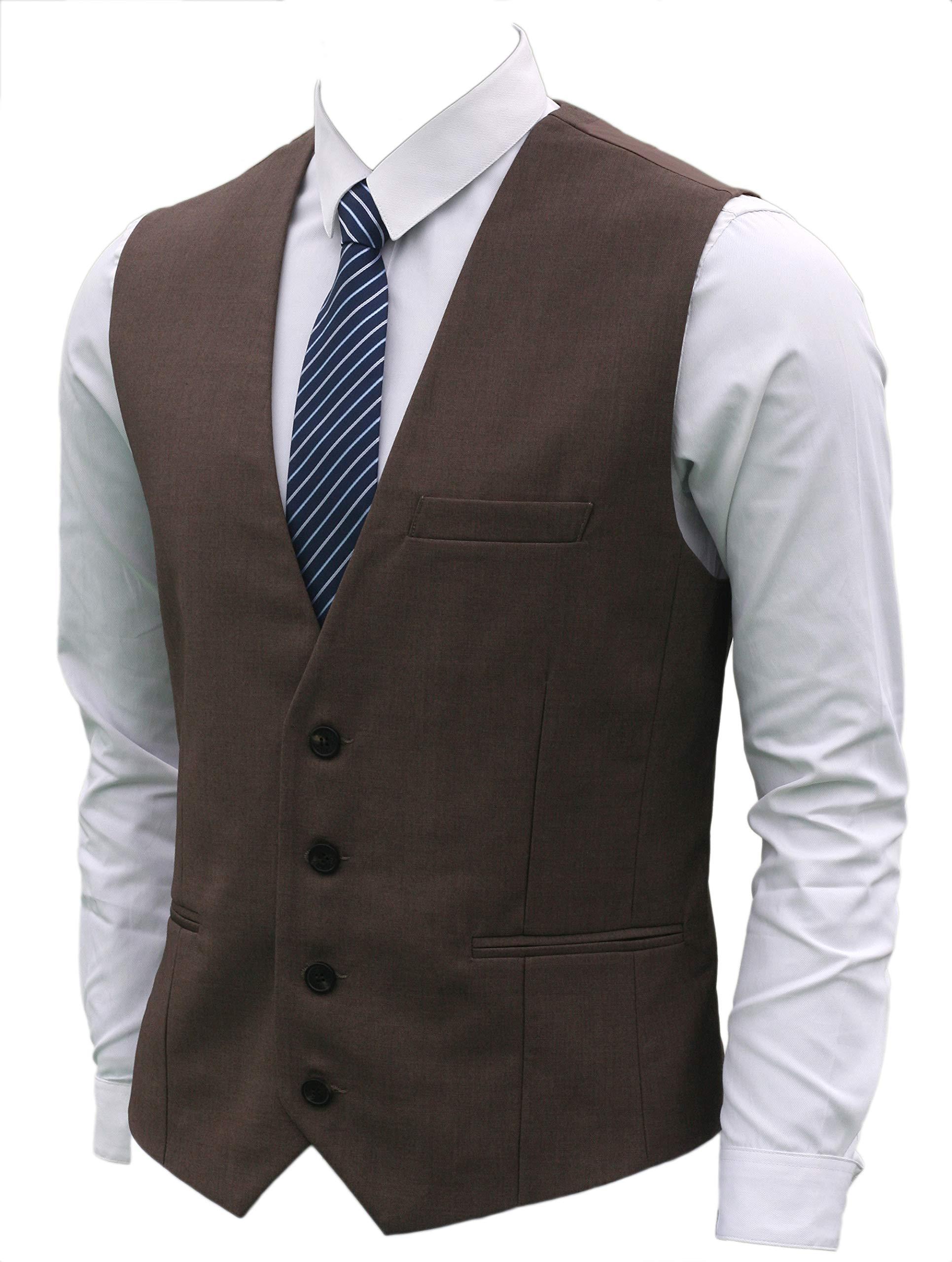 Ruth&Boaz Men's 3Pockets 4Button Business Suit Vest (M, Brown) by Ruth&Boaz