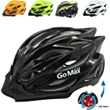 GoMax Aero Adult Safety Helmet Adjustable Road Cycling Mountain Bike Bicycle Helmet Ultralight Inner Padding Chin Protector and visor w/ Rear LED Tail Light adjust