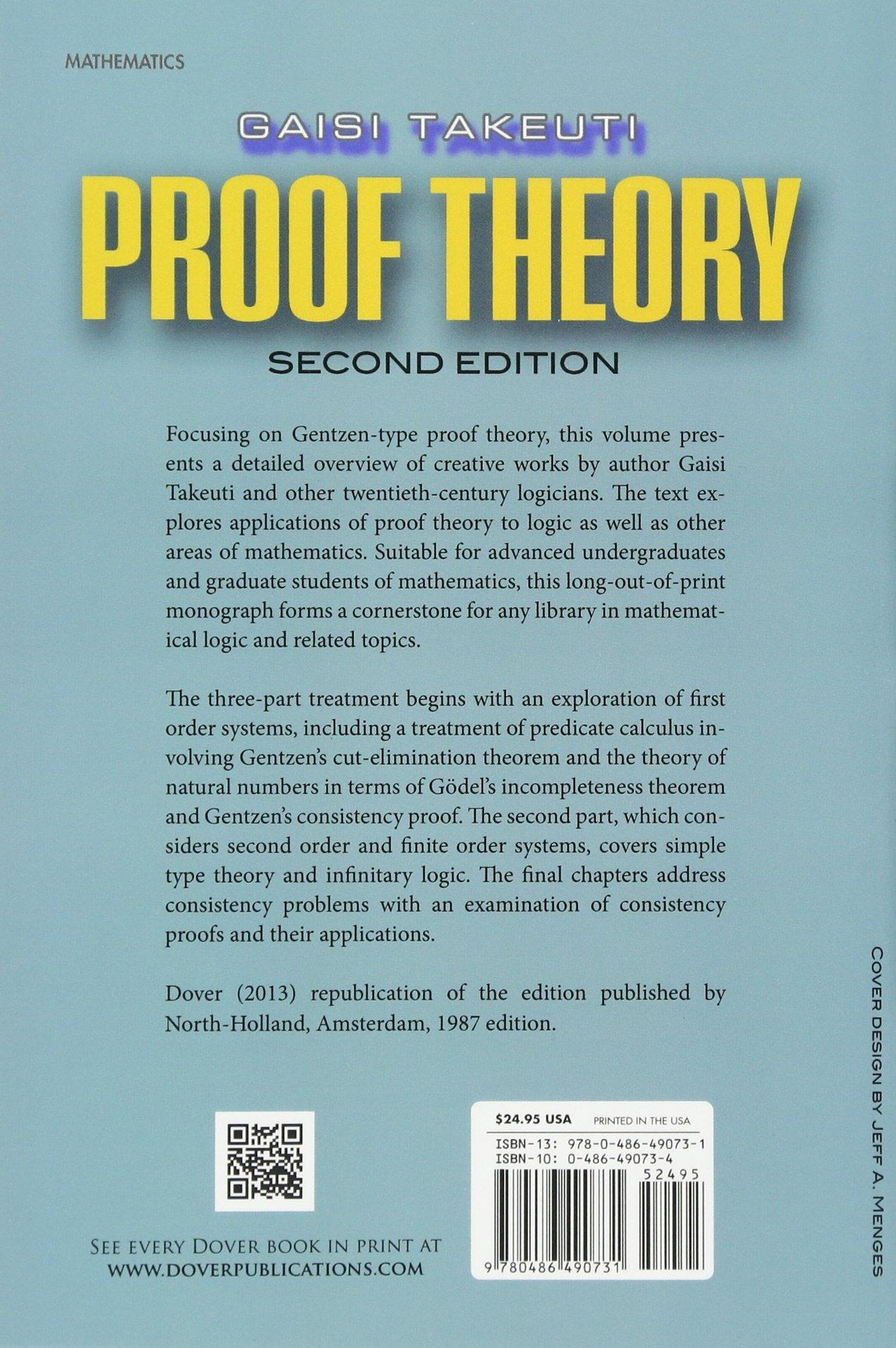 proof theory dover books on mathematics takeuti