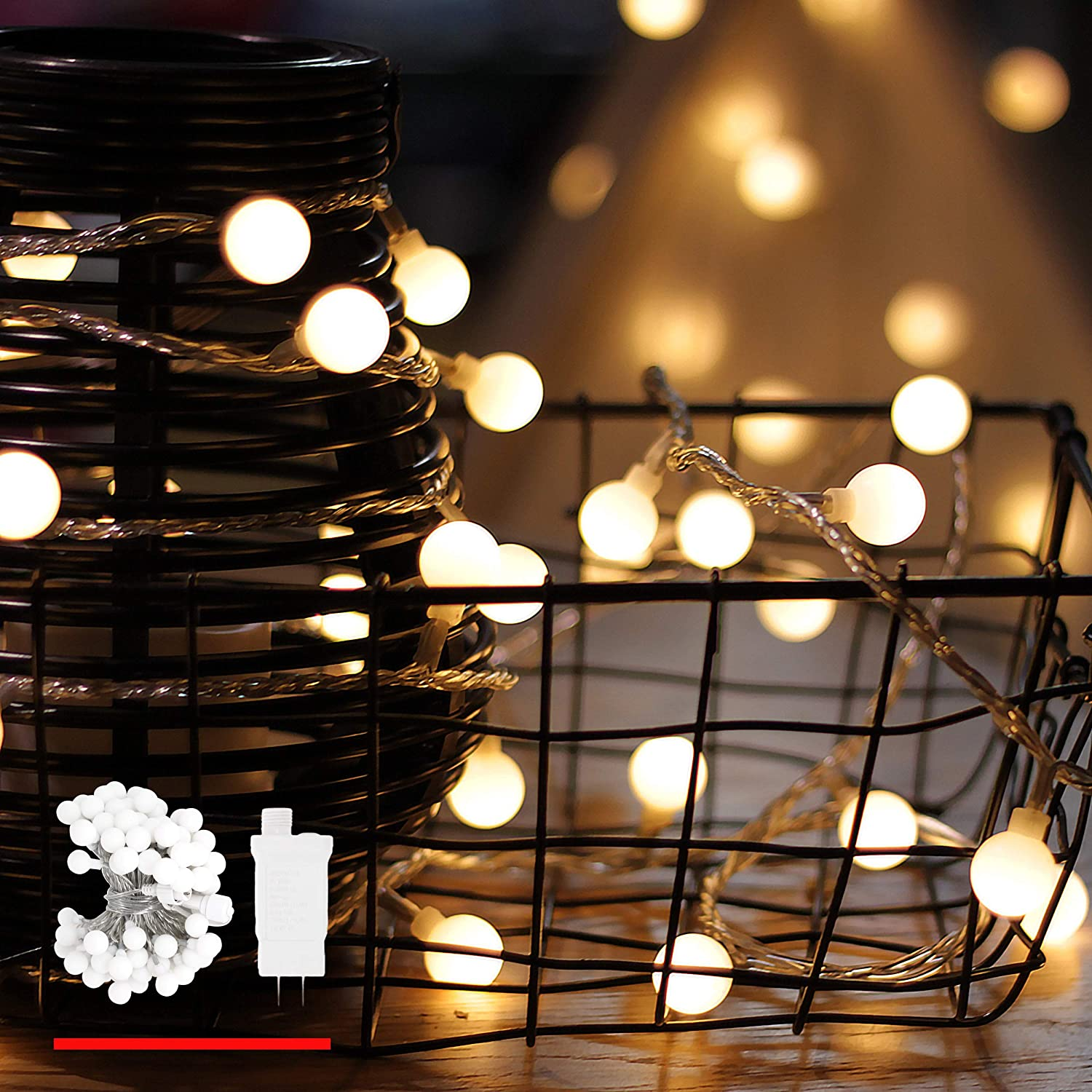 Amazon Com Led String Lights By Mycozylite Plug In String Lights 49ft 100 Led Warm White Globe Lights With Timer Waterproof Perfect For Indoor And Outdoor Use With 30v Low Voltage Transformer Extendable