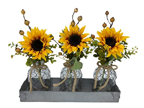 Amazon Com Sunflower Centerpiece Metal Tray Custom You Choose Which Pieces Are Included Optional Chicken Wire Tonic Bottles Lights Farmhouse Jar Decor Set Of 3 Handmade