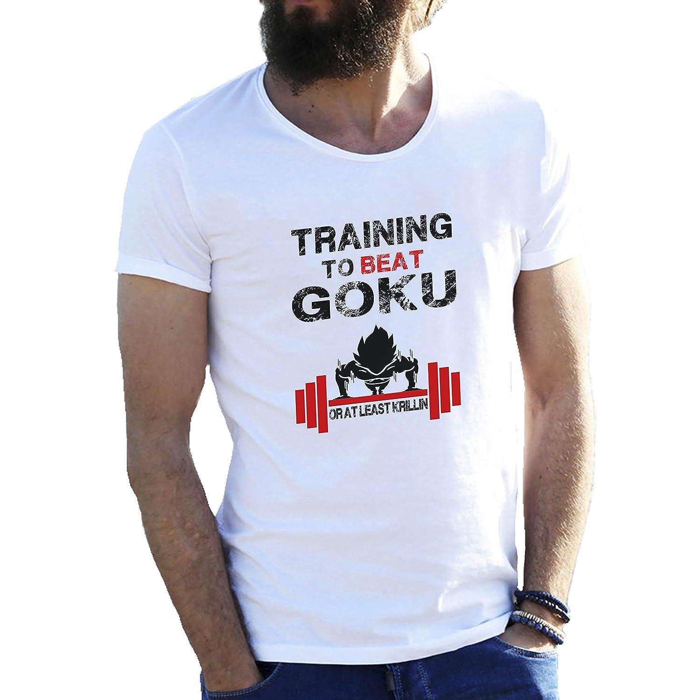 Amazon.com: Bodybuilding Training to Beat Goku Dragonball Atheltic FB Banksy Logo Mens T-Shirt: Clothing