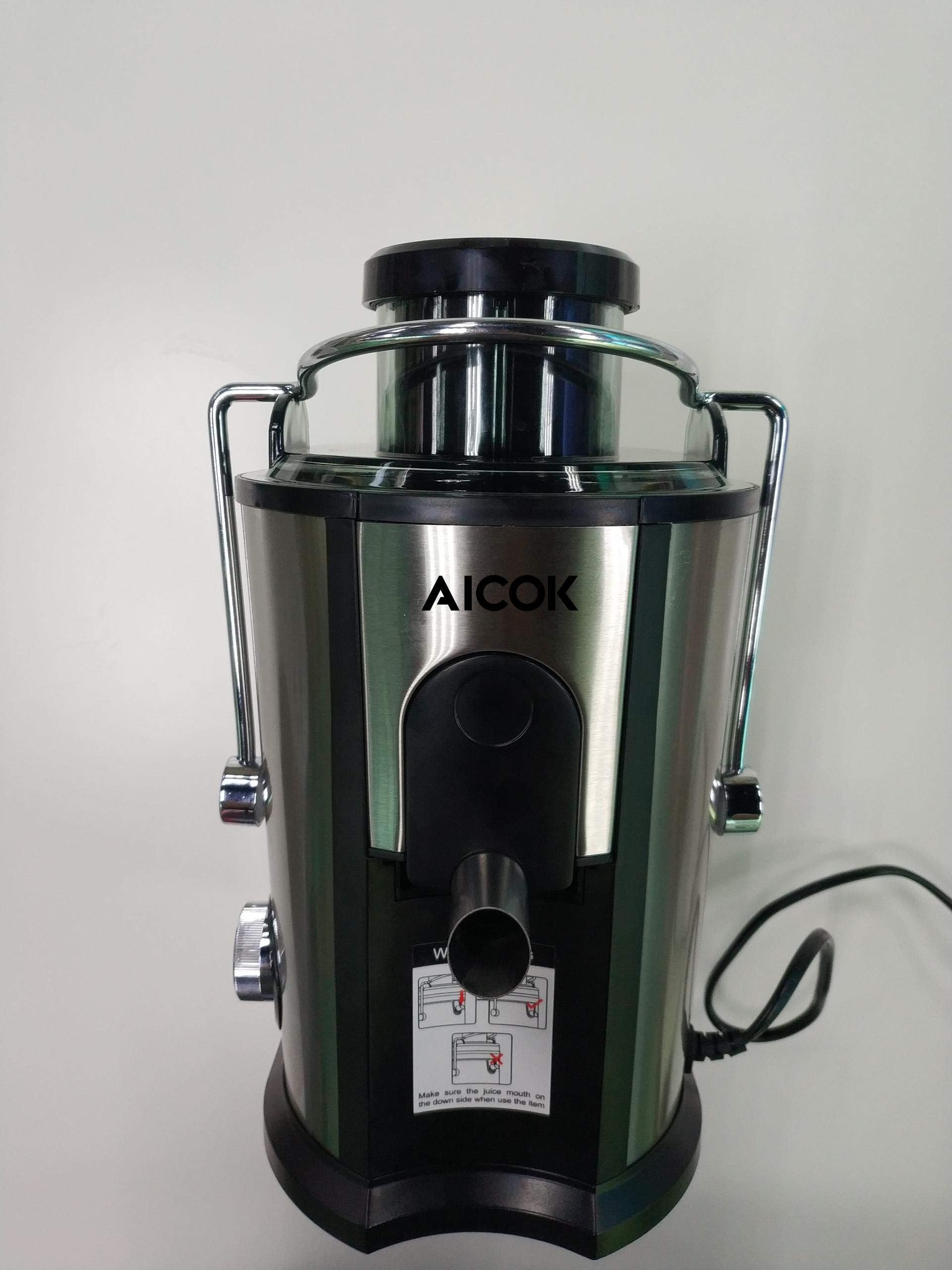 AICOK Juicer Juice Extractor, Wide Mouth Centrifugal Juicer BPA Free Food Grade Stainless Steel Dual Speed Setting Juicer Machine with Anti-drip Function for Fruits and Vegetables