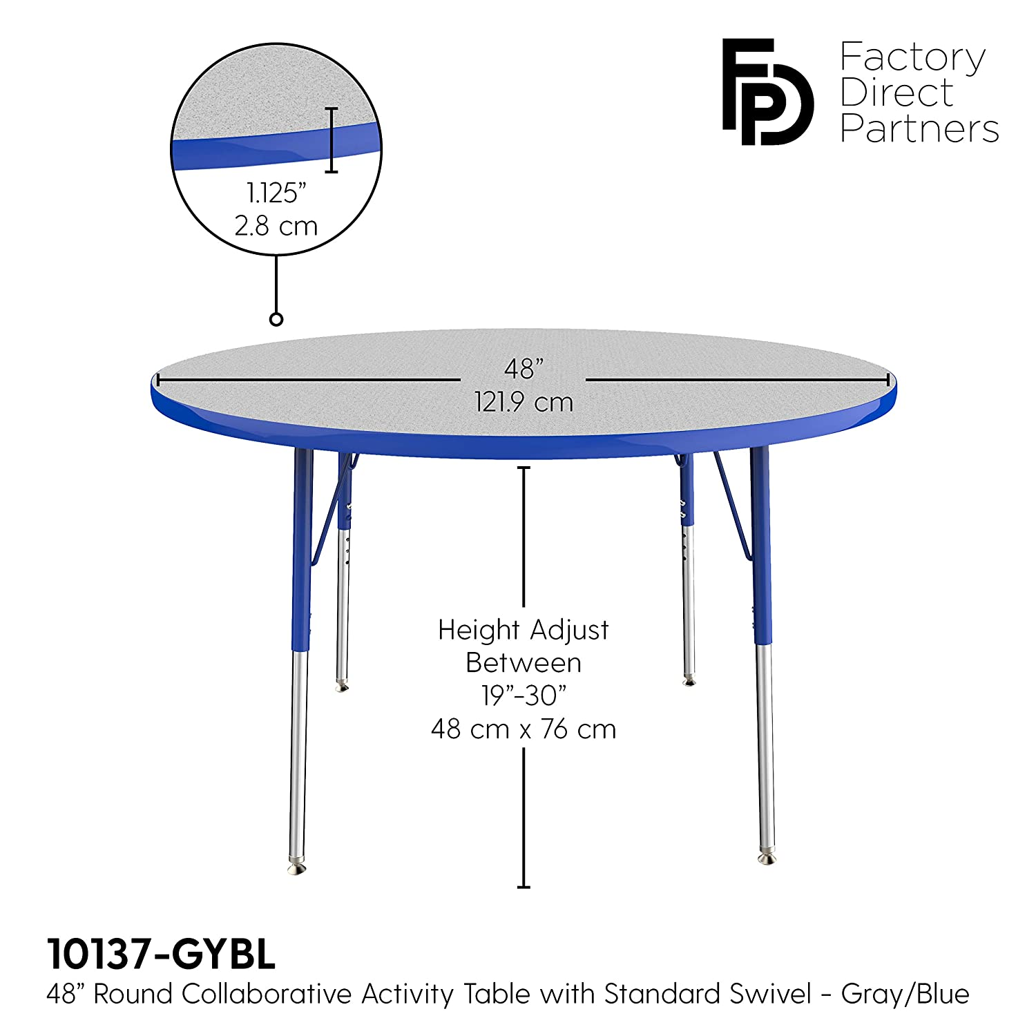 Gray Top and Blue Edge Toddler Legs 24 x 48 inch FDP Rectangle Activity School and Kids Classroom Table Adjustable Height 15-24 inches