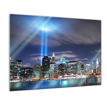 Glasbild - New York City Manhattan at Night - USA - 60x40 cm - Deko ...