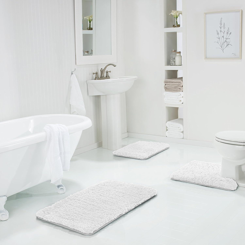 Genteele Memory Foam Bath Mat Shaggy Bathroom Mat, Non-Slip, Water Absorbent, Super Plush, Washable Bathroom Rug, 21 X 34, White 21 X 34