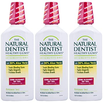 5611348e0acc The Natural Dentist Healthy Gums Mouth Wash, Peppermint Twist, 16.9 Ounce  Bottle (Pack of 3)