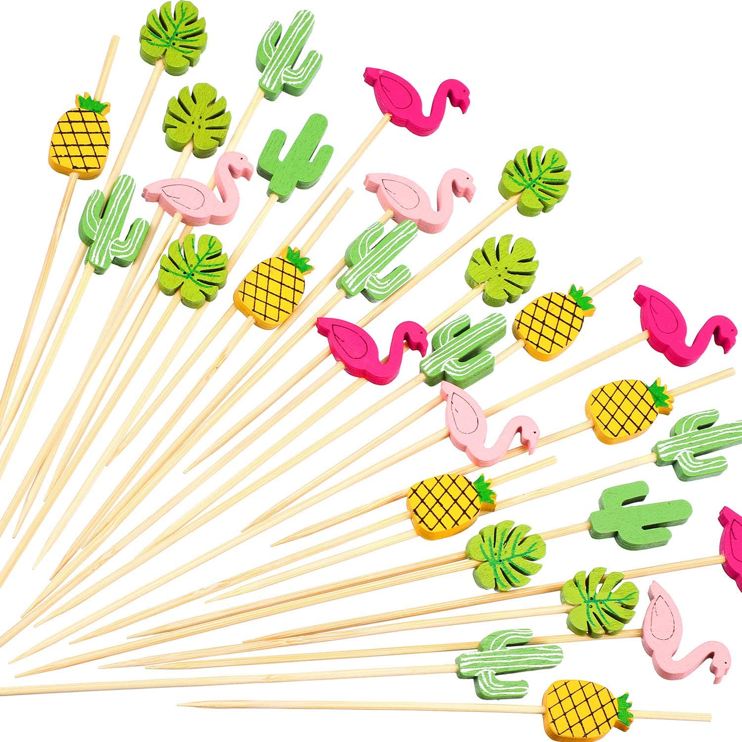 200 Pack Cocktail Picks 4.7 Inch Fruit Sticks Bamboo Toothpicks for Luau Hawaii Beach Party Supplies (Hawaii Set)