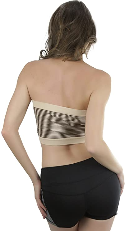2e2cf74d09 ToBeInStyle Women s Pack of 6 Striped Tube Top Bras - One Size ...
