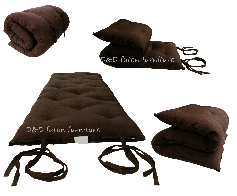 D&D Futon Furniture Brown Queen Size Traditional Japanese Floor Futon Mattresses, Foldable Cushion Mats, Yoga, Meditaion 60W X 80L by D&D Futon Furniture