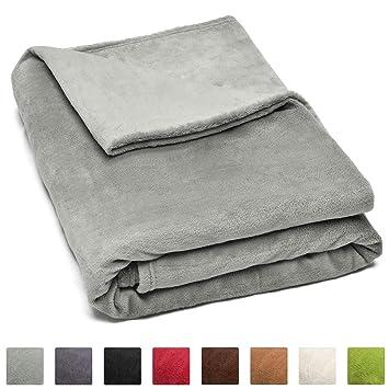 4ae61a67ee6 Beautissu Couverture Polaire Couvre-Lit Aurelia 220 x 240 cm - Plaid jeté  de canapé