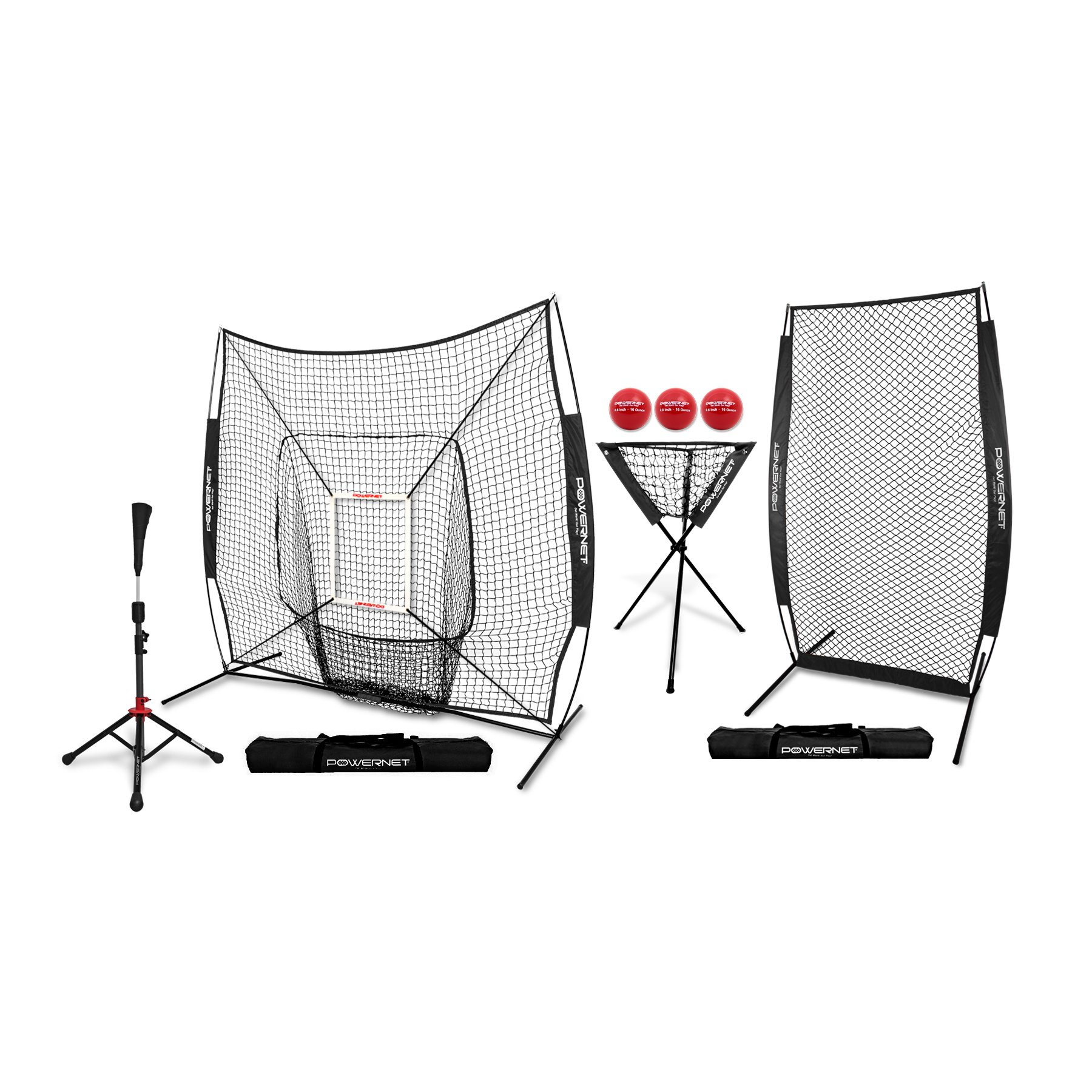 PowerNet [All in ONE Coach Bundle (Black) 7x7 DLX Practice Net + I-Screen + Deluxe Tee + Ball Caddy + 3 Pack Weighted Training Ball + Strike Zone Bundle | Baseball Softball Pitching Batting by PowerNet