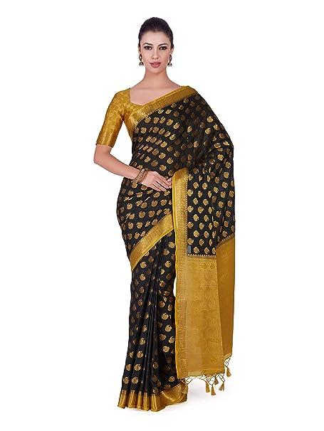 86a1a7133b1947 Mimosa Art Crape silk saree Kanjivarm Pattu style With Contrast Blouse  Color: Black (4278-239-2D-BLK-CKU): Amazon.in: Clothing & Accessories