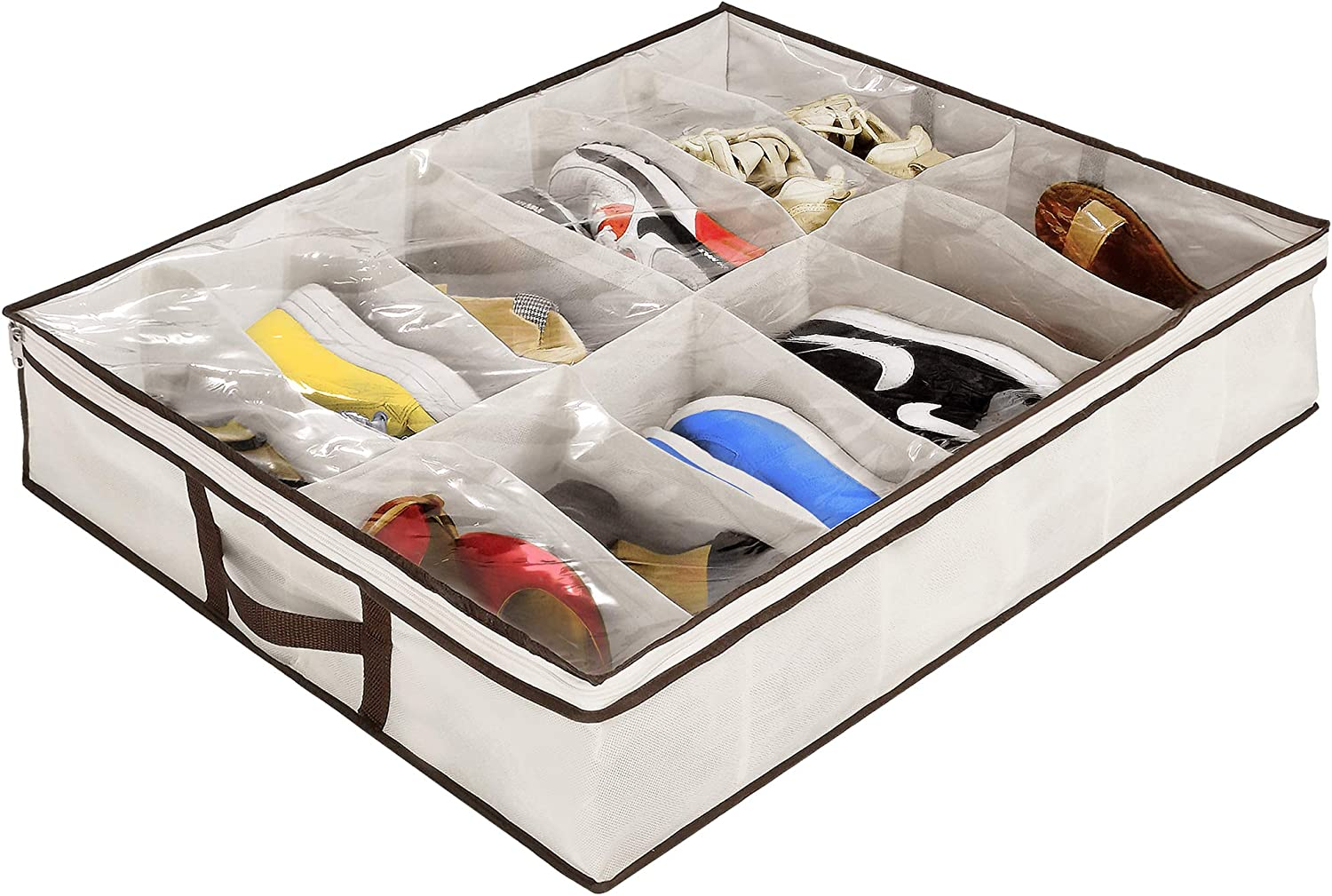 Amazon Com Ziz Home Under Bed Shoe Organizer 1 2 Pack For