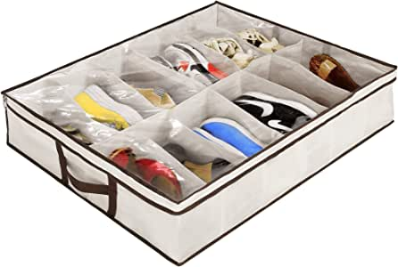 Ziz Home Under Bed Shoe Organizer (1 & 2 Pack) for Kids and Adults - 12 Pairs - Underbed Shoes Closet Storage Solution - Made of Breathable Materials with Front Zippered Closure - Easy to Assemble (1)