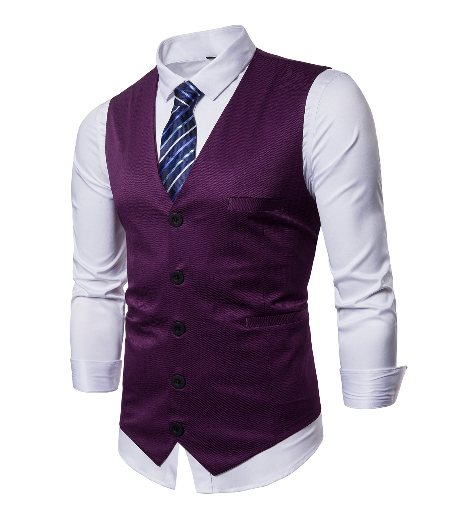 Winoto Business Suit Vest Mens Slim Fit Waistcoat with Blue Striped Necktie