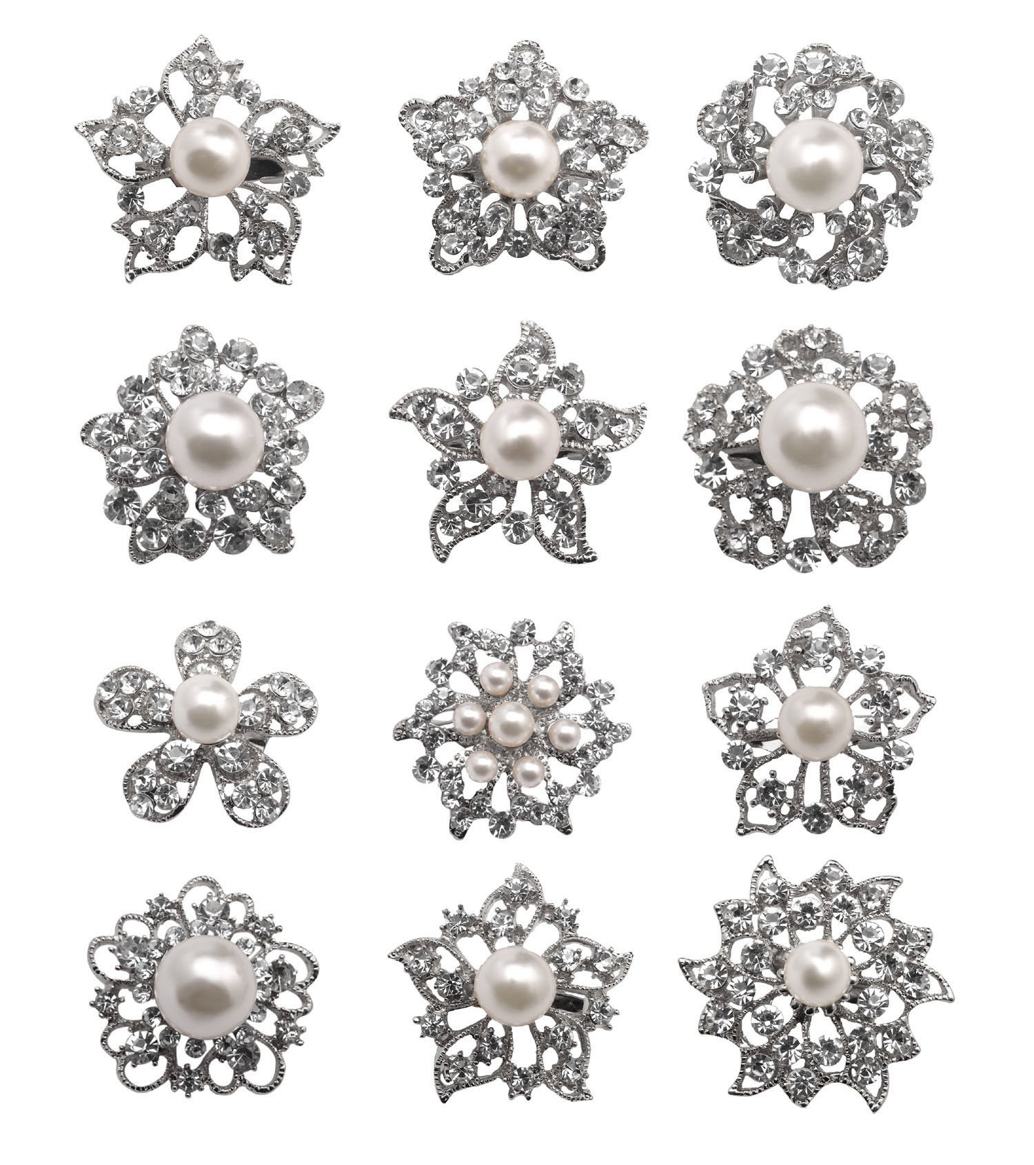L'vow Mixed Designs Crystal Floriated Brooches Scarves Collar Pin Corsage Bouquet Kit Pack of 12(Silver)